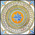 'Jdida' 16-tile Ceramic Medallion Art