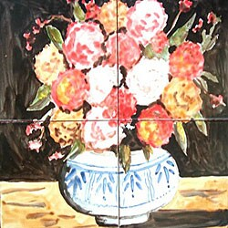 Mosaic 'Floral Vase' 4-tile Ceramic Wall Mural