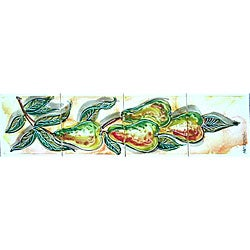 Mosaic 'Pears Theme' 4-tile Ceramic Wall Mural