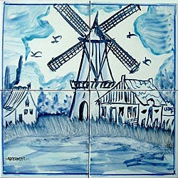 Mosaic 'Wind Mill' 4-tile Ceramic Wall Mural
