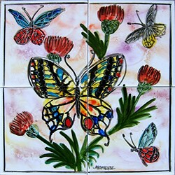 Mosaic 'Butterfly' 4-tile Ceramic Wall Mural