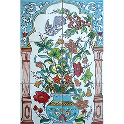 Mosaic 'Blue Floral Arch' 6-tile Ceramic Wall Mural