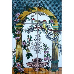 Mosaic 'Golden Arch' 6-tile Ceramic Wall Mural