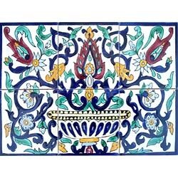 Arabesque Floral Pot 6-tile Ceramic Wall Mural Art