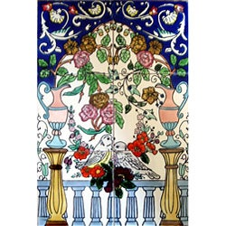 Loving Doves Floral Arch 6-tile Cermaic Wall Mural