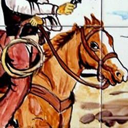 Mosaic 'Wild West Theme' 9-tile Ceramic Wall Mural