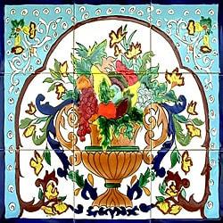 Floral Backsplash Art 9-tile Ceramic Wall Mural