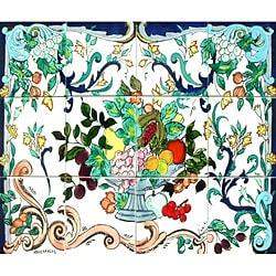 'Fruit Urn' 12-tile Ceramic Wall Mural Art