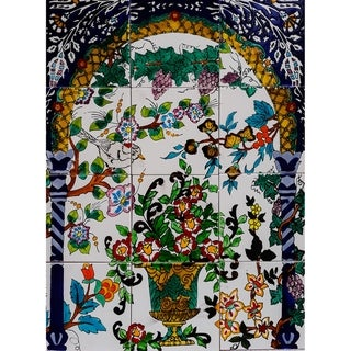 'Floral Green Pot' 12-tile Ceramic Wall Mural Art