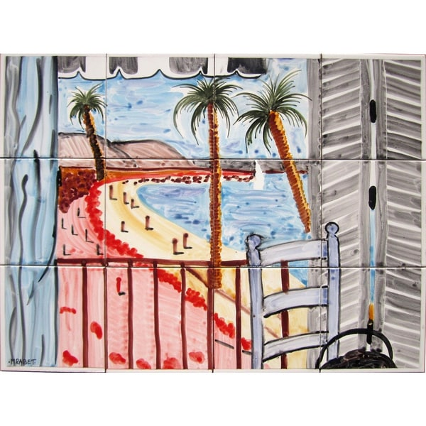 Balcony Beach View 12-tile Ceramic Wall Mural Art