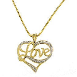 18k Goldplated Sterling Silver 'Love' Heart Necklace