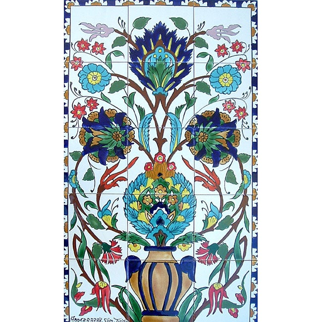 Mosaic 39 sauvage flowers 39 15 tile ceramic wall mural for Ceramic wall mural