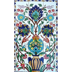 Mosaic 'Sauvage Flowers' 15-tile Ceramic Wall Mural