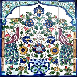 Mosaic 'Antique-looking Peacock' 16-tile Ceramic Wall Mural