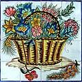 Mosaic 'Feasting Floral Basket' 16-tile Ceramic Wall Mural
