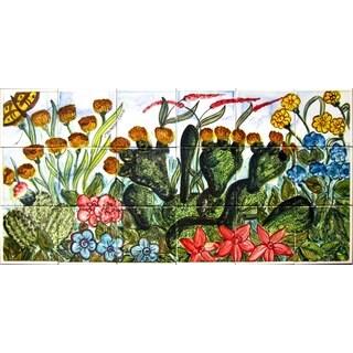Mosaic 'Garden Theme' 18-tile Ceramic Wall Mural Art