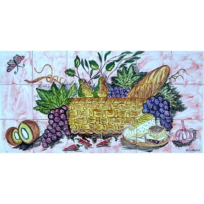 Decorative backsplash 18 tile ceramic wall mural for Decorative tile mural