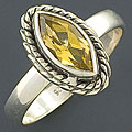 Sterling Silver Citrine Gemstone Ring (India)