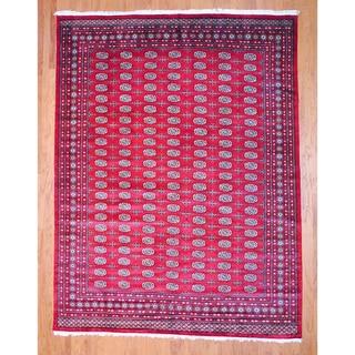 Pakistani Hand-knotted Red/ Ivory Bokhara Wool Rug (9' x 12')