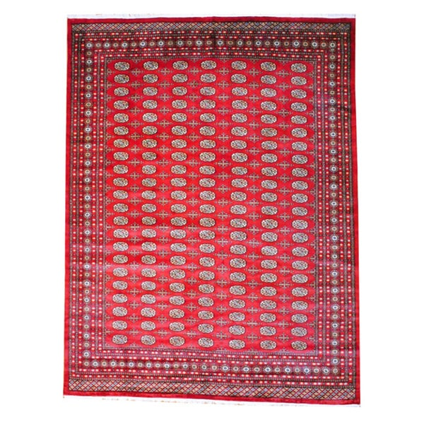 Pakistan Bokhara Rugs In Red: Pakistani Hand-knotted Red/ Ivory Bokhara Wool Rug (9' X