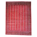 Pakistani Hand-knotted Red/ Ivory Bokhara Wool Rug (9&#39; x 12&#39;)