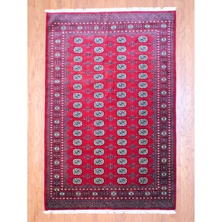 Pakistani Hand-knotted Bokhara Red/ Ivory Wool Rug (6' x 9')