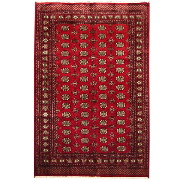 Herat Oriental Pakistan Hand-knotted Bokhara Red/ Ivory Wool Rug (6' x 9')