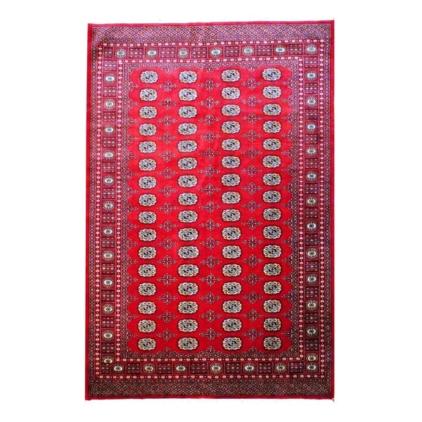 Vintage Persian Bokhara Wool Area Rug 10 X 13: Herat Oriental Pakistan Hand-knotted Bokhara Red/ Ivory