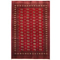 Pakistani Hand-knotted Bokhara Red/ Ivory Wool Rug (6&#39; x 9&#39;)