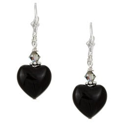 Charming Life Silver Black Onyx Heart Earrings