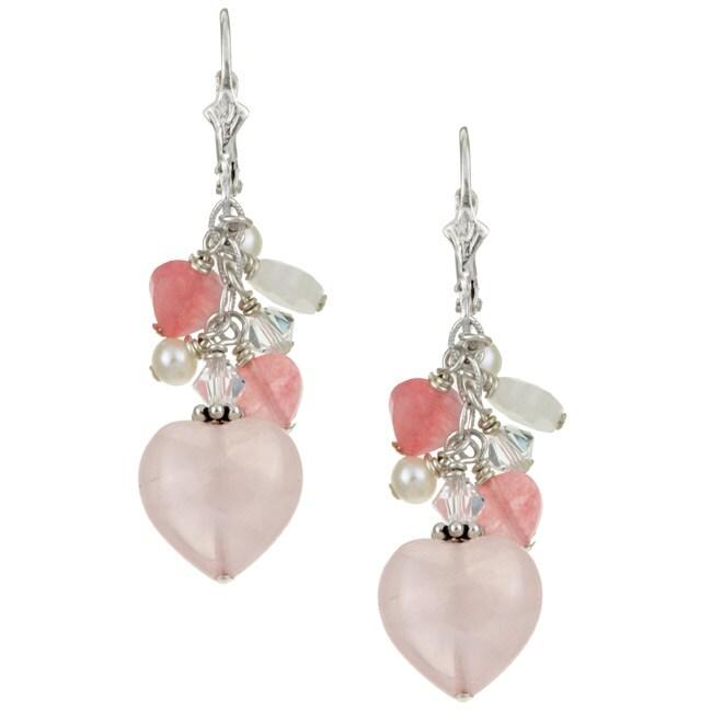Charming Life Sterling Silver Rose Quartz Heart Charm Fringe Earrings