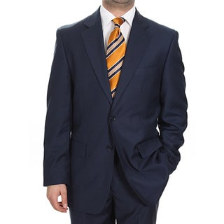 Ferrecci Men's Two-button Solid Navy Blue Suit