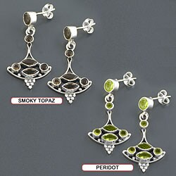 Sterling Silver Gemstone Dangle Boat Earrings (India)