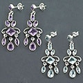 Sterling Silver Gemstone Chandelier Earrings (India)