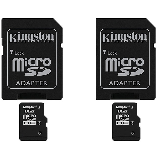 Kingston 8GB Micro SDHC Card with Adapter (2 Pack)