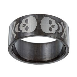 Black Stainless Steel Etched Skull Band