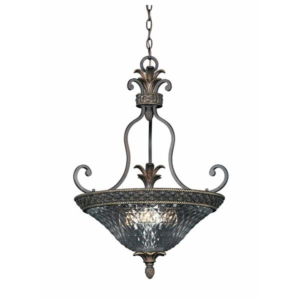 Crystal Glass 3-light Bronze-finish Pendant