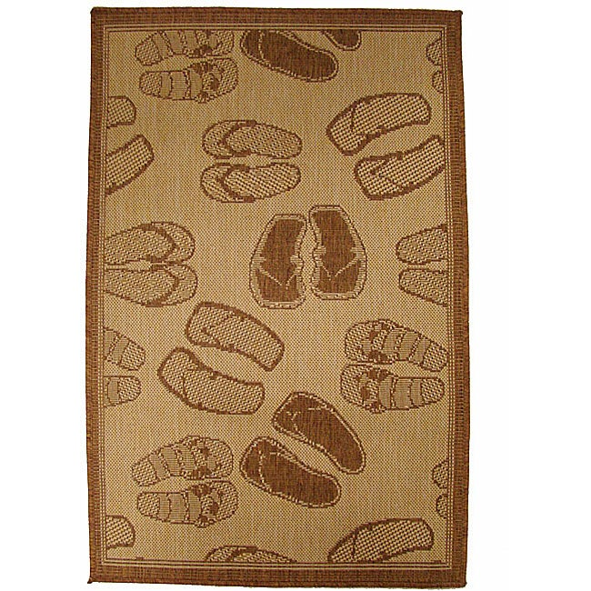 Flip Flop Parade Indoor/ Outdoor Rug (3'11 x 5'6)