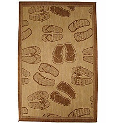 Flip Flop Parade Indoor/ Outdoor Rug (5'3 x 7'6)