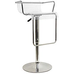 Stern Clear Acrylic Adjustable Chromed Barstool