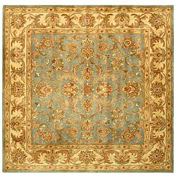 Safavieh Handmade Heritage Kermansha Blue/ Beige Wool Rug (8' Square)