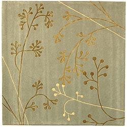 Safavieh Handmade Soho Vine Light Blue New Zealand Wool Rug (8' Square)