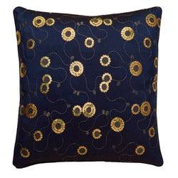 Decorative Floral Swirls Blue Cushion Cover