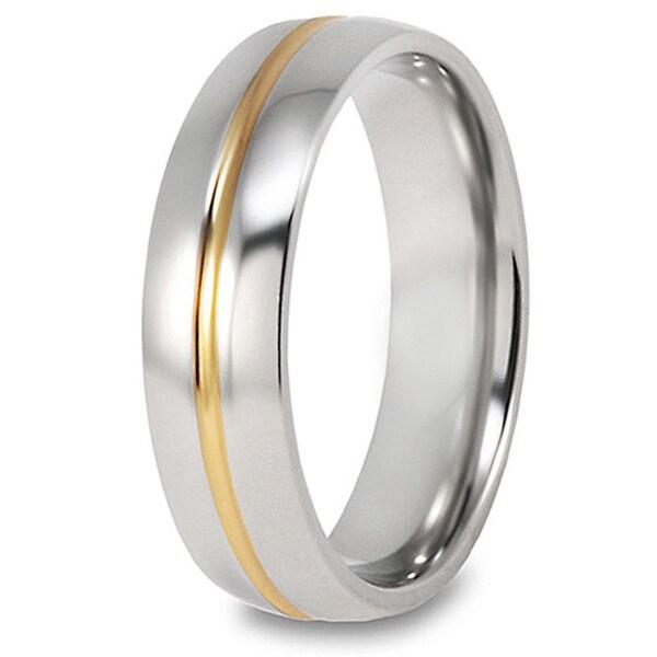 Men's Titanium 14k Goldplated Grooved Polished Ring (6 mm)