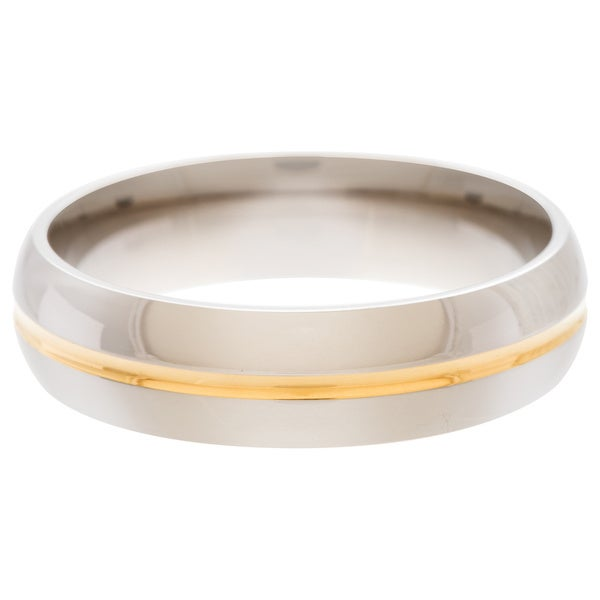 Men's Titanium 14k Goldplated Grooved Polished Ring (6 mm)