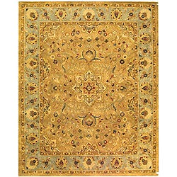 Handmade Classic Heirloom Beige Wool Rug (9'6 x 13'6)