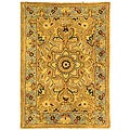 Handmade Classic Heirloom Beige Wool Rug (2' x 3')