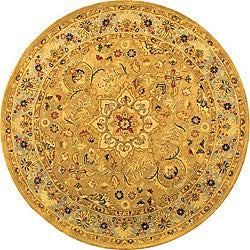 Handmade Classic Heirloom Beige Wool Rug (3'6 Round)