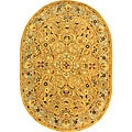 Handmade Classic Heirloom Beige Wool Rug (4'6 x 6'6 Oval)
