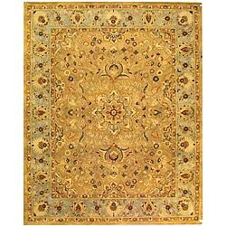 Handmade Classic Heirloom Beige Wool Rug (6' x 9')